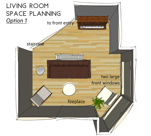 Option 1: floor plans, space planning, living room design