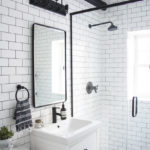 modern bathroom, black and white bathroom makeover, a bathroom with a modern mix