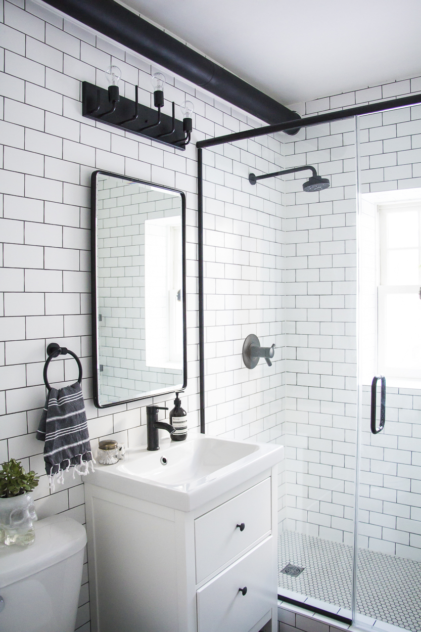 A Modern Meets Traditional Black And White Bathroom