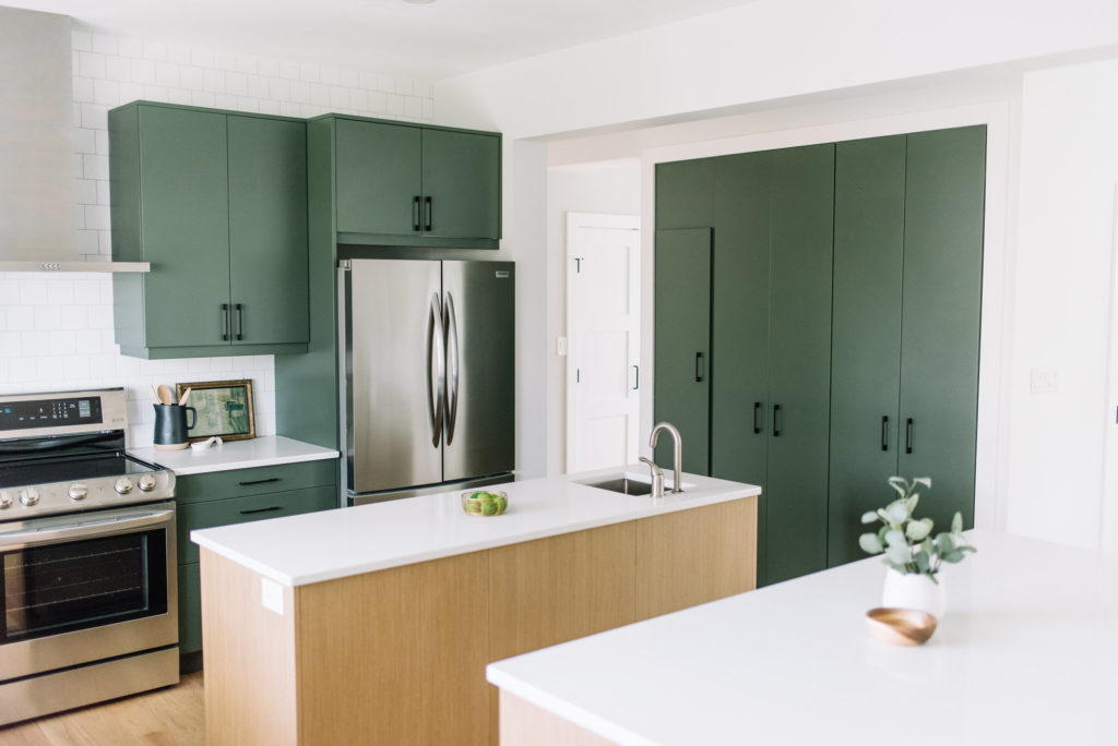 Before and After The Lady Laurier, kitchen design, green kitchen, double islands