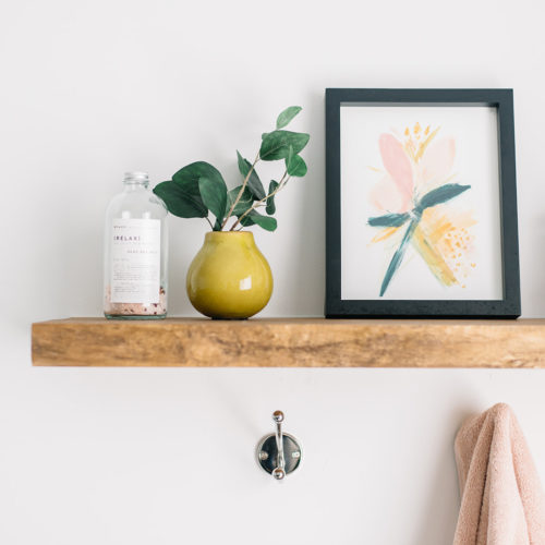 spring decor, spring home refresh, mustard and blush colour combo, bathroom decor