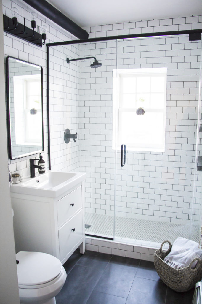 A Modern Meets Traditional Black And White Bathroom Makeover Kristina Lynne